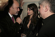 Christian Loubatain, Pedro Almodovar and Penelope Cruz,  Charles Finch and Chanel 7th Anniversary Pre-Bafta party to celebratew A Great Year of Film and Fashiont at Annabel's. Berkeley Sq. London W1. 10 February 2007. -DO NOT ARCHIVE-© Copyright Photograph by Dafydd Jones. 248 Clapham Rd. London SW9 0PZ. Tel 0207 820 0771. www.dafjones.com.