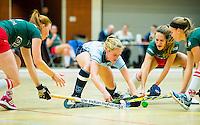 ALMERE - hoofdklasse competitie zaalhockey  dames. . LAREN- MOP. Elin van Erk van Laren met Rosalie de Beer van MOP.   COPYRIGHT KOEN SUYK