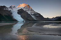 Mount Robson, highest mountain in the Canadian Rockies, elevation 3,954m (12,972ft), seen from Berg Lake, Mount Robson Provincial Park British Columbia