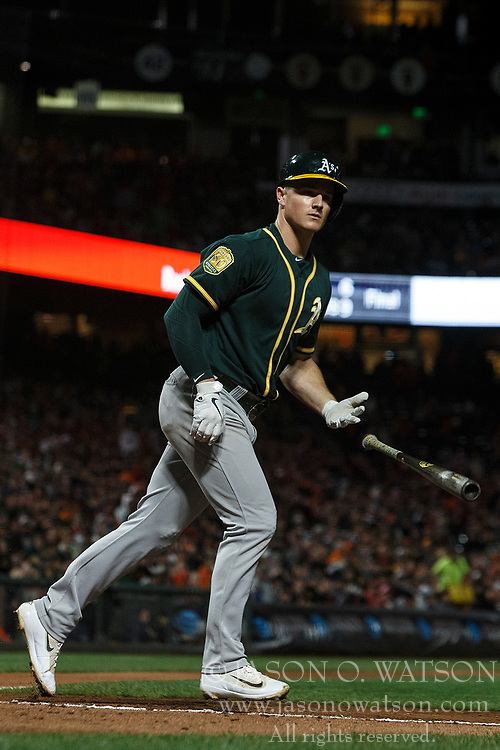 SAN FRANCISCO, CA - JULY 13: Matt Chapman #26 of the Oakland Athletics tosses his bat after drawing a walk against the San Francisco Giants during the seventh inning at AT&T Park on July 13, 2018 in San Francisco, California. The San Francisco Giants defeated the Oakland Athletics 7-1. (Photo by Jason O. Watson/Getty Images) *** Local Caption *** Matt Chapman