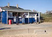 Gun Hill beach cafe on a sunny winter day, Southwold, Suffolk, England
