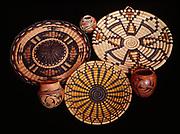 Variety of Hopi basket trays and pots, Arizona.