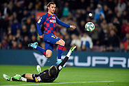 Antoine Griezmann of FC Barcelona scores his team's first goal during the sixteen round match of the La Liga 2019-2020 season between FC BARCELONA and RCD MALLORCA at CAMP NOU STADIUM in Barcelona, Spain.December 7, 2019