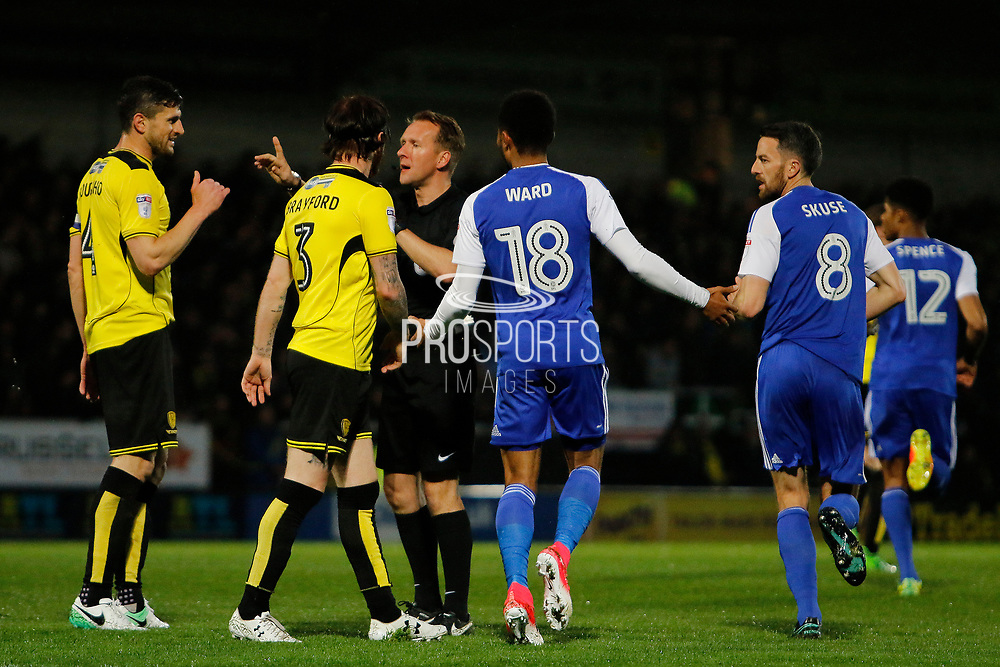Referee Oliver Langford disallows Ipswich Town midfielder Grant Ward (18) goal (0-0) during the EFL Sky Bet Championship match between Burton Albion and Ipswich Town at the Pirelli Stadium, Burton upon Trent, England on 14 April 2017. Photo by Richard Holmes.