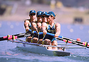 © 2000 All Rights Reserved - Peter Spurrier Sports Photo. .Tel 44 (0) 1784-440 771  .Mobile 44 (0) 973 819 551.email pictures@rowingpics.com.Sydney Olympics 2000 - Penrith Lakes, NSW...AUS Coxless 4 at the start of the morning heat. (L to R) .Bo Hanson, Geoff Stewart, Ben Dodwell and James Stewart,......... 2000 Olympic Regatta Sydney International Regatta Centre (SIRC) 2000 Olympic Rowing Regatta00085138.tif