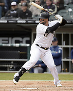 CHICAGO - APRIL 05:  Yonder Alonso #17 of the Chicago White Sox bats against the Seattle Mariners on April 5, 2019 at Guaranteed Rate Field in Chicago, Illinois.  (Photo by Ron Vesely)  Subject:  Yonder Alonso