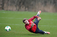 Wales goalkeeper Owain Fon Williams in action. Wales football team training and player media session in Cardiff on Tuesday 19th March 2013.  The team are together ahead of their next two World cup qualifying matches against Scotland and Croatia. pic by Andrew Orchard, Andrew Orchard sports photography,