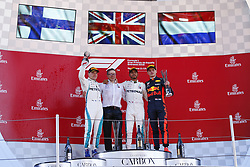 May 13, 2018 - Barcelona, Catalonia, Spain - May 13th, 2018 - Circuit de Barcelona-Catalunya, Montmelo, Spain - Race of Formula One Spanish GP 2018; Lewis Hamilton Valtteri Bottas of Mercedes-AMG-Petronas Formula One Team and Max Verstappen of RedBull Racing in the podium after the race. (Credit Image: © Eric Alonso via ZUMA Wire)