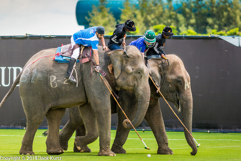 "28 AUGUST 2014 - BANGKOK, THAILAND: Elephant polo action at the King's Cup Elephant Polo Tournament at VR Sports Club in Samut Prakan on the outskirts of Bangkok, Thailand. Each elephant carries two people, the polo player and mahout, who actually controls the elephant. The tournament's primary sponsor in Anantara Resorts. This is the 13th year for the King's Cup Elephant Polo Tournament. The sport of elephant polo started in Nepal in 1982. Proceeds from the King's Cup tournament goes to help rehabilitate elephants rescued from abuse. Each team has three players and three elephants. Matches take place on a pitch (field) 80 meters by 48 meters using standard polo balls. The game is divided into two 7 minute ""chukkas"" or halves.     PHOTO BY JACK KURTZ"