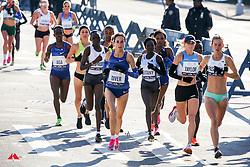 lead women, mile 3<br /> Diver, Keitany, Taylor, Pashley<br /> TCS New York City Marathon 2019