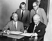 Federal German Republic becomes 53rd member of the IMF (International Monetary Fund). Dr Hans Riesser of the German Diplomatic Mission in the US signs the document.
