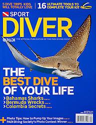 PADI Sport Diver Magazine, April 2010, cover use, USA, Image ID: Eagle-Ray-Spotted-0008-V