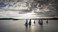 La Route des Princess. Plymouth. UK<br /> Oman Air - Musandam skippered by Sidney Gavignet (FRA) Pictured leading the fleet during the start of the final offshore leg Plymouth - Roscoff<br /> Credit: Lloyd Images