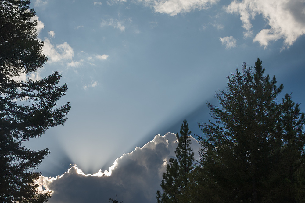 """Afternoon thunder clouds and """"god beams"""" over the Icicle River Canyon, July, Wenatchee National Forest, Chelan County, Washington, USA"""