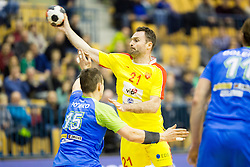 Vid Poteko of Slovenia and Nemanja Pribak of F.Y.R. Macedonia during friendly handball match between National Teams of Slovenia and F.Y.R. of Macedonia before EHF EURO 2016 in Poland on January 5, 2016 in Arena Zlatorog, Celje, Slovenia. Photo by Urban Urbanc / Sportida