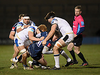 Rugby Union - 2020 / 2021 Gallagher Premiership - Round Nine - Sale Sharks  vs Bath - AJ Bell Stadium<br /> <br /> Sale Sharks' Tom Roebuck is tackled by Bath Rugby's Josh Bayliss and Miles Reid.<br /> <br /> COLORSPORT/ASHLEY WESTERN