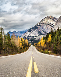 Road to Autumn. The road that winds through the north side of Banff National Park and the Southern end of Jasper National Park is known as the Icefields Parkway. Once of the many embarrassment of riches of the Canadian Rockies
