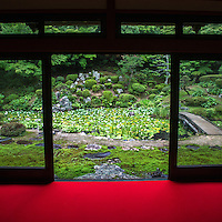 """Kozanji Garden Tottori - while many temples around Japan share the name Kozanji, the Tottori Kozanji features a small landscape garden using """"borrowed scenery"""" - that is hills and forest behind the garden incorporated into the garden's tableaux."""