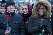 Moscow, Russia, 27/01/2011..Memorial ceremony in central Moscow for the 35 people killed in the Domodedovo airport bombing.