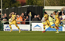 Sutton United's Will Randall celebrates scoring his side third goal of the game during the Sky Bet League Two match at Borough Sports Ground, Sutton. Picture date: Saturday October 9, 2021.