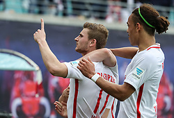 LEIPZIG, May 14, 2017  RB Leipzig's Timo Werner (L) celebrates scoring during a German Bundesliga match between RB Leipzig and Bayern Munich in Leipzig, Germany, May 13, 2017. RB Leipzig lost 4-5 and won the second place of German Bundesliga as a newly promoted this season ahead of schedule at the 33rd round on Saturday. (Credit Image: © Shan Yuqi/Xinhua via ZUMA Wire)
