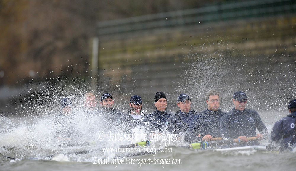 Putney, GREAT BRITAIN,   2008 Boat Race, Tideway Week, Oxford paddling though the rougher water at  Harrods, during Their Friday am. training outing on the River Thames, Fri. 28.03.2008 [Mandatory Credit, Peter Spurrier / Intersport-images [crew left to right] OUBC. Bow, Jan HERZOG, Toby MEDARIS, Ben SMITH, Aaron MARCOVY, Michael WHERLEY, Oliver MOORE, Charles COLE, William ENGLAND and Cox Nick BRODIE. Varsity Boat Race, Rowing Course: River Thames, Championship course, Putney to Mortlake 4.25 Miles,
