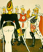 German militarism in the Wilhelmine era: William II telling Polish soldiers that they will not regret dedicating their lives to him.  At this date Poland was divided into three and Prussian Poland was under German rule.  Cartoon from 'L'Assiette au Buerre