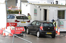 "© Licensed to London News Pictures. 01/05/2020. Brighton, UK. Coronavirus virus testing at the temporary test centre at the Amex Stadium in Brighton, East Sussex. The government is likely to meet or ""come close"" to its target of 100,000 daily UK coronavirus tests, according to Communities Secretary Robert Jenrick. Photo credit: Liz Pearce/LNP"