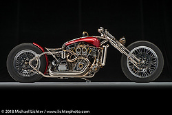 Cherrybomb, a red shovel prostreet built by Mark Shell of Idaho Falls, ID. Photographed by Michael Lichter in Sacramento, CA January 12, 2018. ©2018 Michael Lichter