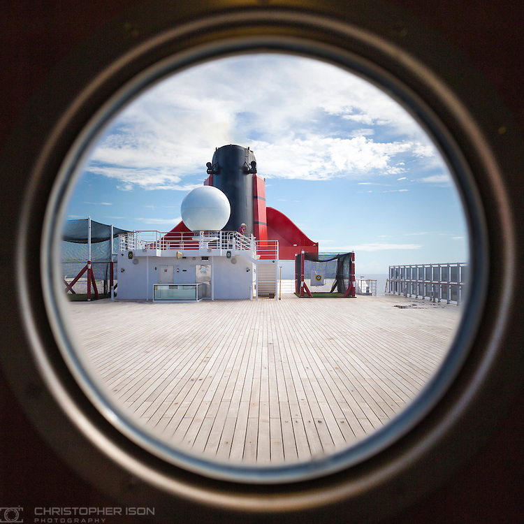 The Sun Deck and funnel on board Cunard's Queen Mary 2.<br /> Picture date: Wednesday September 7, 2016.<br /> Photograph by Christopher Ison ©<br /> 07544044177<br /> chris@christopherison.com<br /> www.christopherison.com