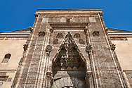 Close up of the Crown Gate of the Buruciye Medrese (Madrasah) built in 1271 by Dr. Muzaffer Burucerdî of Iran as a school teach physics, chemistry and astronomy. Its magnificent crown gate is one of the best examples of Seljuk architecture in Anatolia. The islamic Muqarnas corbelled vault is made up of a large number of miniature squinches, producing a sort of cellular structure. Sivas, Turkey .<br /> <br /> If you prefer to buy from our ALAMY PHOTO LIBRARY  Collection visit : https://www.alamy.com/portfolio/paul-williams-funkystock/sivas-turkey.html<br /> <br /> Visit our TURKEY PHOTO COLLECTIONS for more photos to download or buy as wall art prints https://funkystock.photoshelter.com/gallery-collection/3f-Pictures-of-Turkey-Turkey-Photos-Images-Fotos/C0000U.hJWkZxAbg