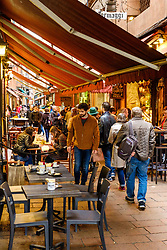 Cafes and restaurants fill the Via Pescherie Vecchie in Bologna, Italy<br /> <br /> (c) Andrew Wilson | Edinburgh Elite media
