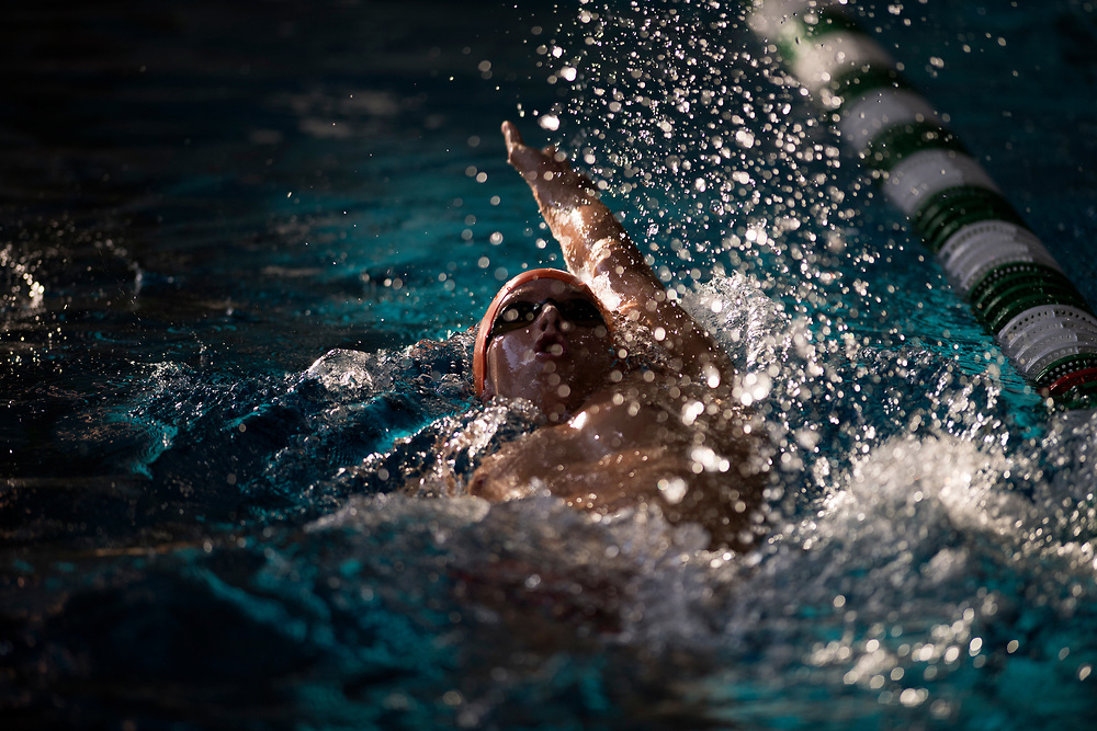 5/4/179:07:52 PM --- Cameron Hoppe swims the 200 yard individual medal relay during the California Community College Swimming and Diving Championships on Thursday, May 4, 2017, at East Los Angeles College in Monterey Park, California.<br /> <br /> <br /> Photo by Jeff Brown/Sports Shooter Academy 2017