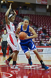 03 January 2014:  Ashley Bartow moves past Stekara Hall , heading for the hoop during an NCAA women's basketball game between the Drake Bulldogs and the Illinois Sate Redbirds at Redbird Arena in Normal IL
