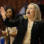 Head coach Heather Macy, East Carolina, on the sideline  during the Temple Vs East Carolina Quarterfinal Basketball game during the American Women's College Basketball Championships 2015 at Mohegan Sun Arena, Uncasville, Connecticut, USA. 7th March 2015. Photo Tim Clayton