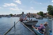 Henley-on-Thames. United Kingdom.  2017 Henley Royal Regatta, Henley Reach, River Thames. <br /> <br /> Picnic boats, moored on the booms<br /> <br /> 13:48:14  Sunday  02/07/2017   <br /> <br /> [Mandatory Credit. Peter SPURRIER/Intersport Images.