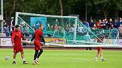 ROTTACH-EGERN, GERMANY - Friday, July 28, 2017: Liverpool's Emre Can, goalkeeper Simon Mignolet and Adam Lallana move the goal during a training session at FC Rottach-Egern on day three of the preseason training camp in Germany. (Pic by David Rawcliffe/Propaganda)