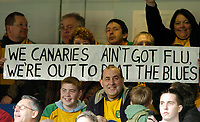 Photo: Leigh Quinnell.<br /> Chelsea v Norwich City. The FA Cup. 17/02/2007.<br /> Norwich fans with their bird flu banner.