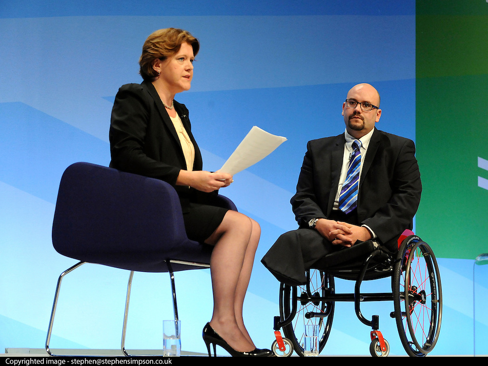 © Licensed to London News Pictures. 03/10/2011. MANCHESTER. UK. Maria Miller MP interviews Dan Liddell, a 7/7 victim on stage at The Conservative Party Conference at Manchester Central today, October 3, 2011. Photo credit:  Stephen Simpson/LNP