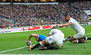 Twickenham, United Kingdom, Saturday, 9th March 2019, Italy's, Tommaso ALLAN. with Italy's opening try, breaking through, Ben YOUNGS, tackle,  RFU, Rugby, Stadium, England,  during the Guinness Six Nations match, England vs Italy, © Peter Spurrier