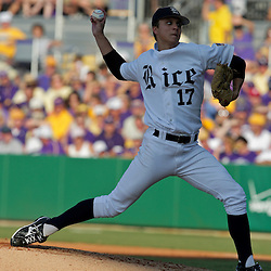 05 June 2009:  Rice pitcher Mike Ojala (17) throws during game one of the NCAA baseball College World Series, Super Regional game between the Rice Owls and the LSU Tigers at Alex Box Stadium in Baton Rouge, Louisiana.