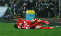 Liverpool's Adam Lallana clutches his leg in pain after a challenge by Swansea City's Kyle Naughton (out of picture)<br /> <br /> Photographer Kevin Barnes/CameraSport<br /> <br /> Football - Barclays Premiership - Swansea City v Liverpool - Monday 16th March - The Liberty Stadium - Swansea<br /> <br /> © CameraSport - 43 Linden Ave. Countesthorpe. Leicester. England. LE8 5PG - Tel: +44 (0) 116 277 4147 - admin@camerasport.com - www.camerasport.com