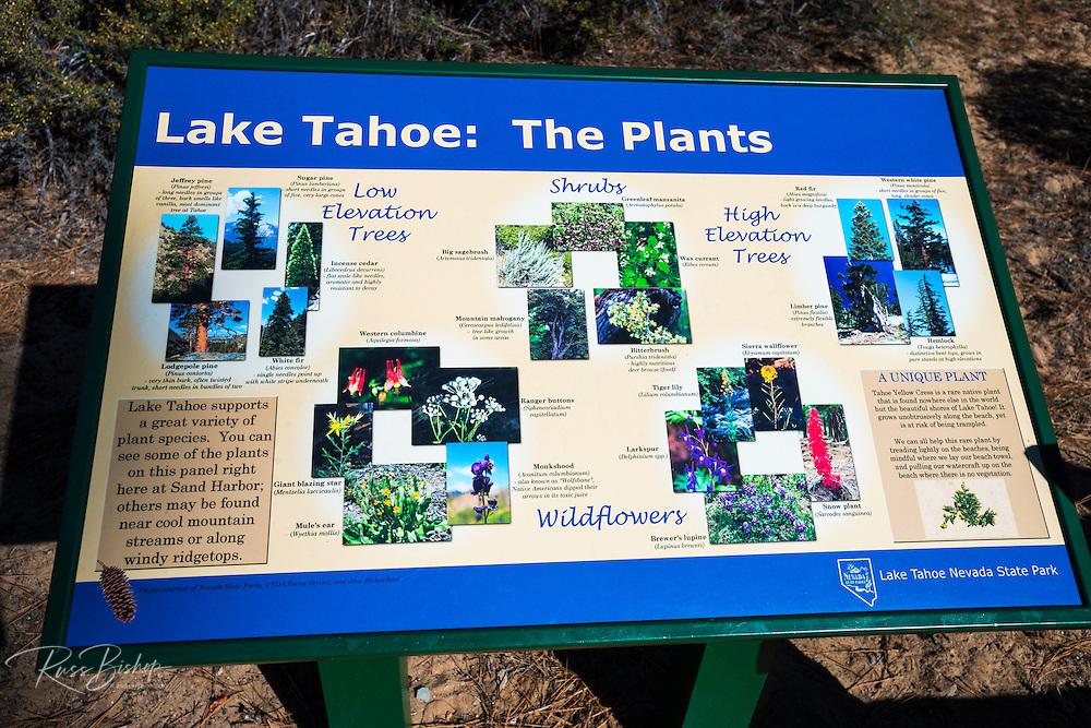 Interpretive sign, Sand Harbor State Park, Lake Tahoe, Nevada, USA