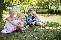 Five children sitting on meadow