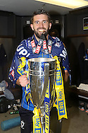 George Francomb midfielder for AFC Wimbledon (7) celebrates as AFC Wimbledon win promotion to league 1after the Sky Bet League 2 play off final match between AFC Wimbledon and Plymouth Argyle at Wembley Stadium, London, England on 30 May 2016. Photo by Stuart Butcher.