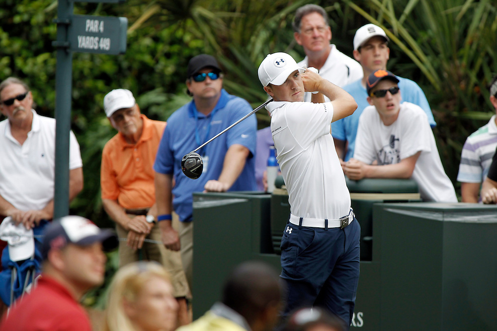 May 9, 2014; Ponte Vedra Beach, FL, USA; Jordan Spieth tees off on the 15th hole during the second round of The Players Championship at TPC Sawgrass - Stadium Course. Mandatory Credit: Peter Casey-USA TODAY Sports