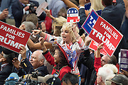 GOP delegates from California cheer during the final day of the Republican National Convention July 21, 2016 in Cleveland, Ohio.