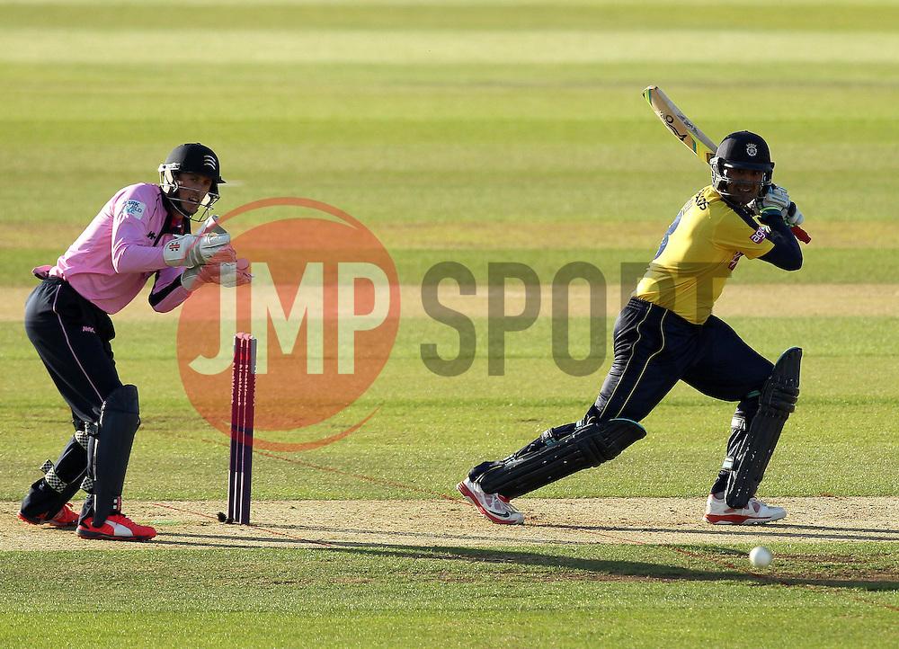 Hampshire's Owais Shah plays through the offside - Photo mandatory by-line: Robbie Stephenson/JMP - Mobile: 07966 386802 - 04/06/2015 - SPORT - Cricket - Southampton - The Ageas Bowl - Hampshire v Middlesex - Natwest T20 Blast