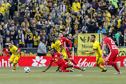 November 4, 2018 - Columbus, OH, U.S. - COLUMBUS, OH - NOVEMBER 04: Columbus Crew defender Jonathan Mensah (4) and New York Red Bulls forward Bradley Wright-Phillips (99) battle in the MLS eastern conference semifinals game between the Columbus Crew SC and the New York Red Bulls on November 04, 2018 at Mapfre Stadium in Columbus, OH. The Crew won 1-0. (Photo by Adam Lacy/Icon Sportswire) (Credit Image: © Adam Lacy/Icon SMI via ZUMA Press)