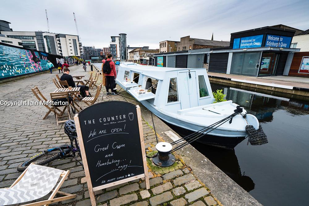 Small cafe The Counter inside narrowboat on Union Canal at Fountainbridge in Edinburgh , Scotland, United Kingdom.